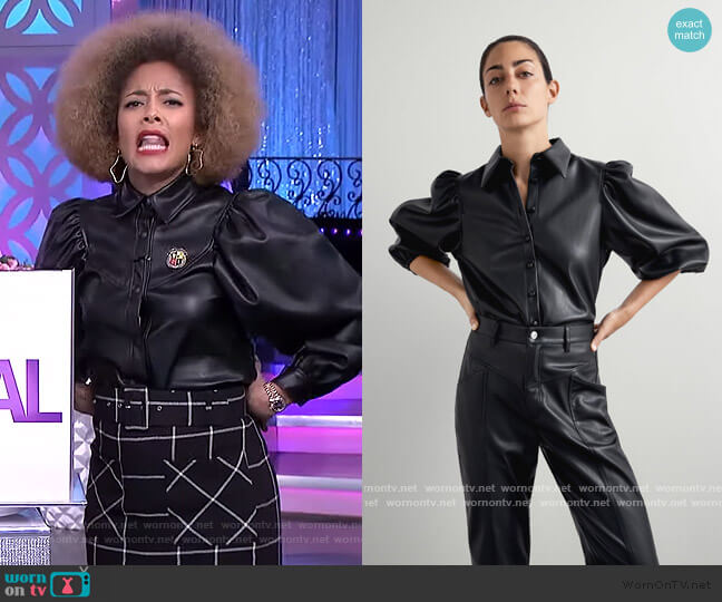 Faux Leather Shirt by Zara worn by Amanda Seales  on The Real
