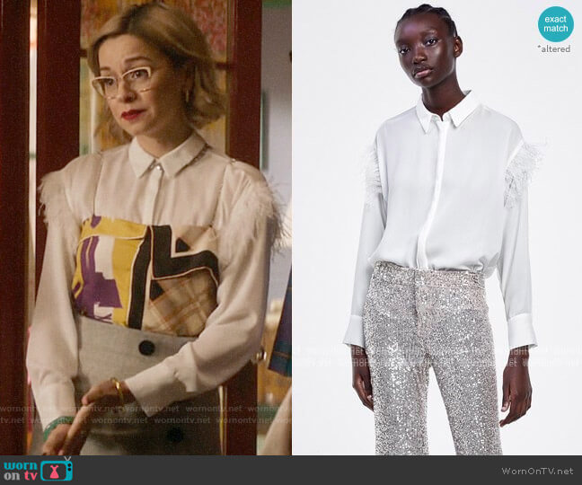 Zara Feather Shirt  worn by Pepper Smith (Julia Chan) on Katy Keene