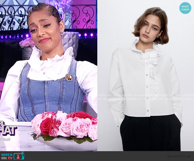 Ruffle Jewell Button Top by Zara worn by Amanda Seales  on The Real