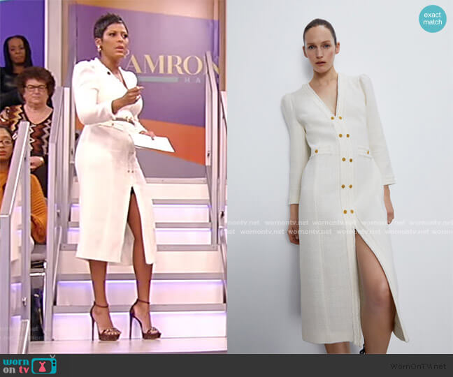 Tweed Midi Dress by Zara worn by Tamron Hall  on Tamron Hall Show