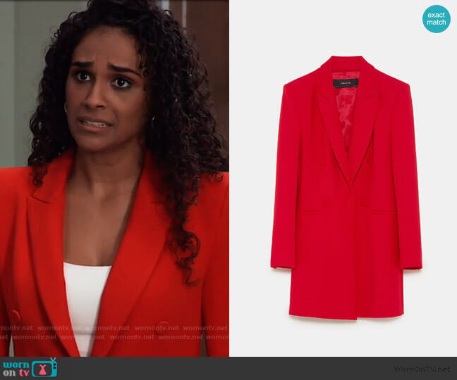 Zara Tailored Frock Coat worn by Jordan Ashford (Briana Nicole Henry) on General Hospital