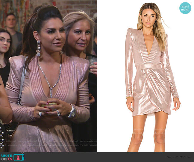 Eye Of Horus Metallic Mini Dress by Zhivago worn by Jennifer Aydin  on The Real Housewives of New Jersey
