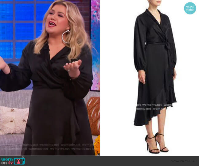 Silk Wrap Flounce Dress by Zimmermann worn by Kelly Clarkson  on The Kelly Clarkson Show