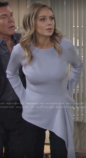 Abby's blue asymmetric sweater on The Young and the Restless