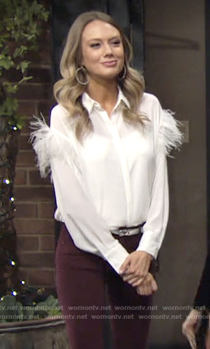 Abby's white feather detail blouse on The Young and the Restless