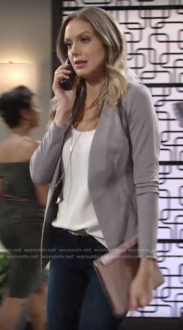 Abby's grey open front blazer on The Young and the Restless