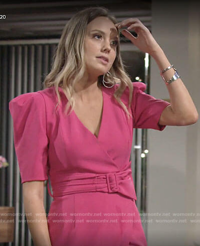 Abby's pink puff-sleeve wrap dress on The Young and the Restless