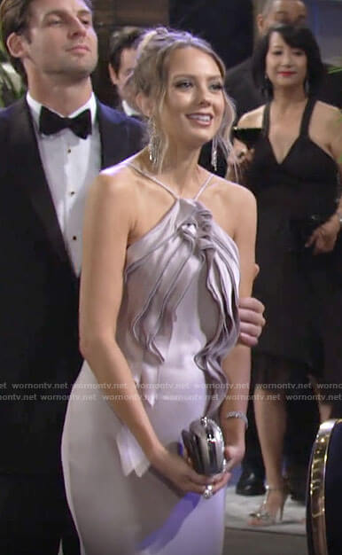 Abby's ruffled satin gown on The Young and the Restless