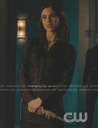 Abigael's black metallic stripe blouse on Charmed