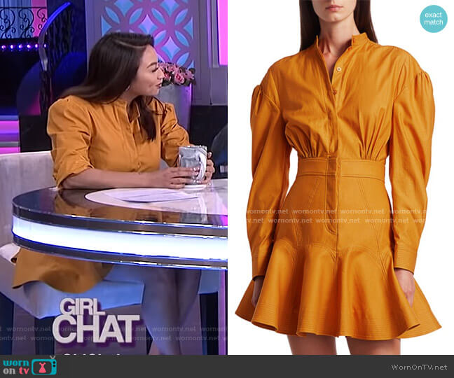 Lewis Puff-Sleeve A-Line Shirtdress by Acler worn by Jeannie Mai  on The Real