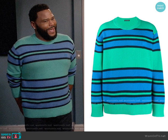 Acne Studios Face Patch Striped Jumper worn by Andre Johnson (Anthony Anderson) on Blackish