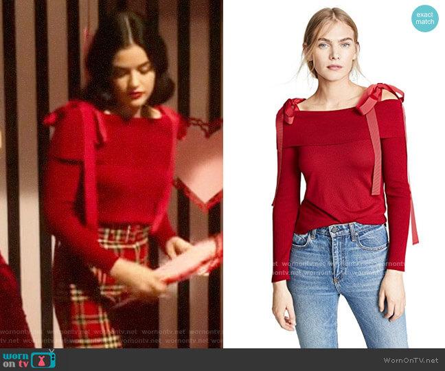 Adeam Off Shoulder Sweater worn by Katy Keene (Lucy Hale) on Katy Keene