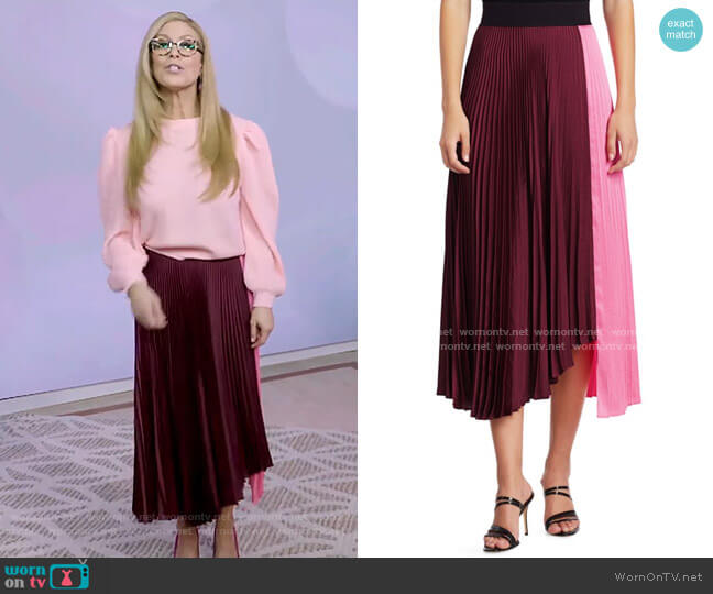 Grainger Asymmetrical Pleated Midi Skirt by A.L.C. worn by Jill Martin  on Today