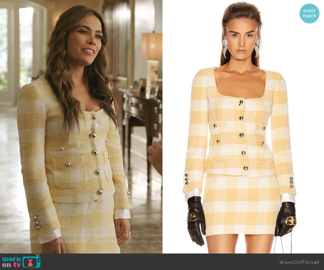 Round Neck Check Tweed Jacket and mini skirt by Alessandra Rich worn by Cristal Jennings (Daniella Alonso) on Dynasty