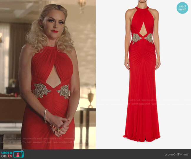 Halterneck Embroidered Evening Dress by Alexander McQueen worn by Alexis Carrington (Elaine Hendrix) on Dynasty