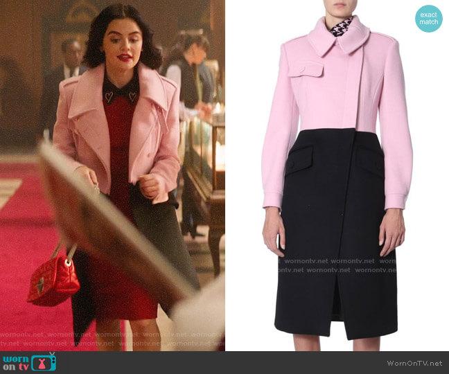 Alexander McQueen Two Tone Double Breasted Coat worn by Katy Keene (Lucy Hale) on Katy Keene