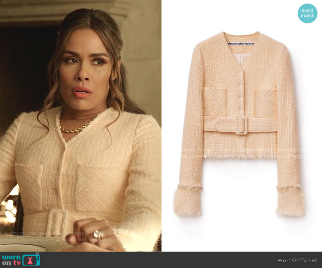 Tweed Jacket by Alexander Wang worn by Cristal Jennings (Daniella Alonso) on Dynasty