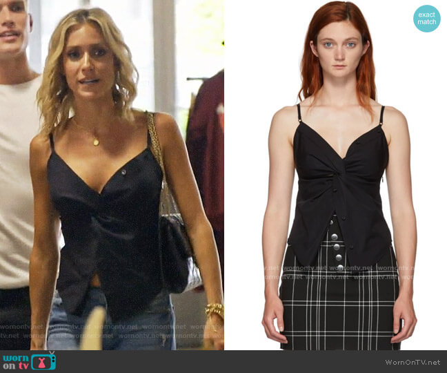 Alexander Wang Black Twisted Front Cami Tank Top worn by Kristin Cavallari  on Very Cavallari