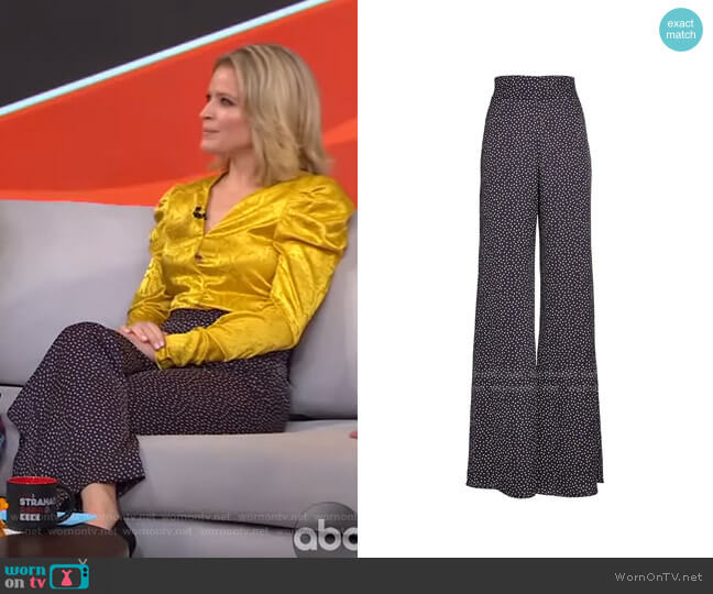 Minna Flared Polka Dot Trousers by Alexis worn by Sara Haines  on Good Morning America