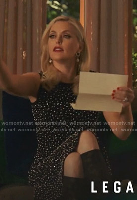 Alexis's black embellished sleeveless dress on Dynasty