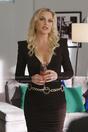 Alexis's black ruched plunge neck dress on Dynasty