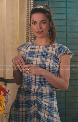 Alexis's blue plaid ruched dress on Schitts Creek