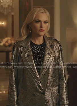 Alexis's metallic tweed coat on Dynasty