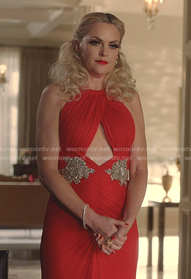 Alexis's red embellished cutout dress on Dynasty