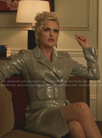 Alexis's sequin plaid belted dress on Dynasty