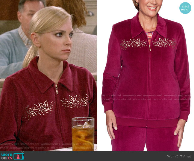 Alfred Dunner Bright Idea Embellished Velour Jacket in Berry worn by Christy Plunkett (Anna Faris) on Mom