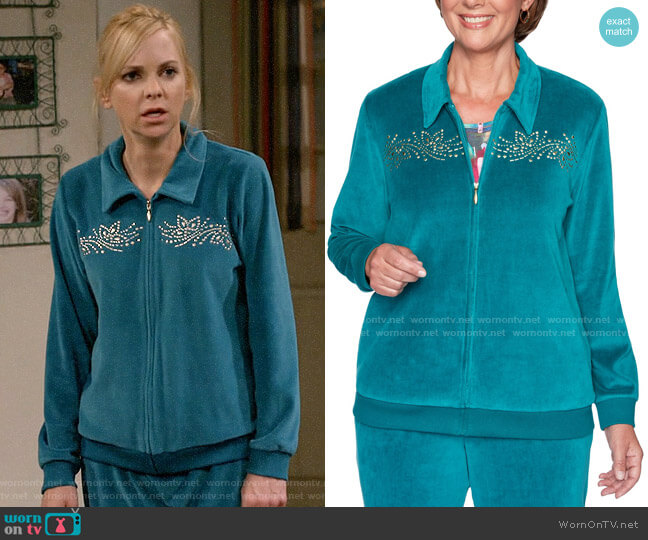 Alfred Dunner Bright Idea Embellished Velour Jacket in Jade worn by Christy Plunkett (Anna Faris) on Mom