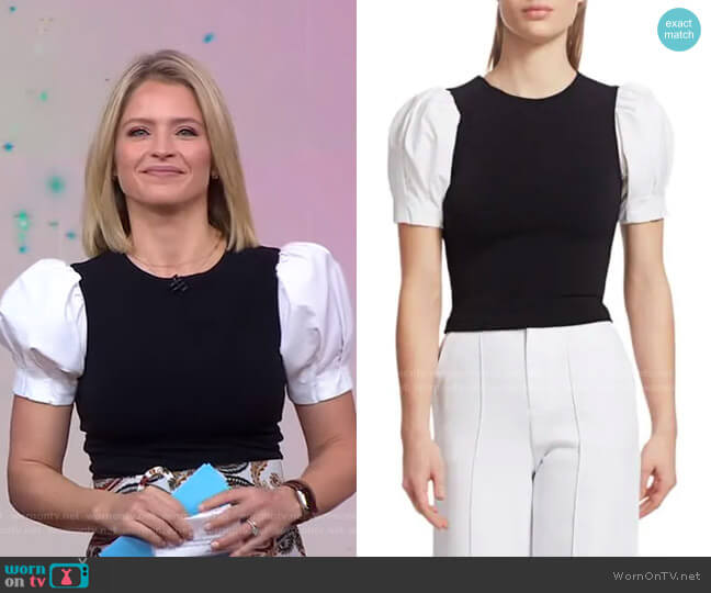 Aubrey Puff-Sleeve Top by Alice + Olivia worn by Sara Haines  on Good Morning America