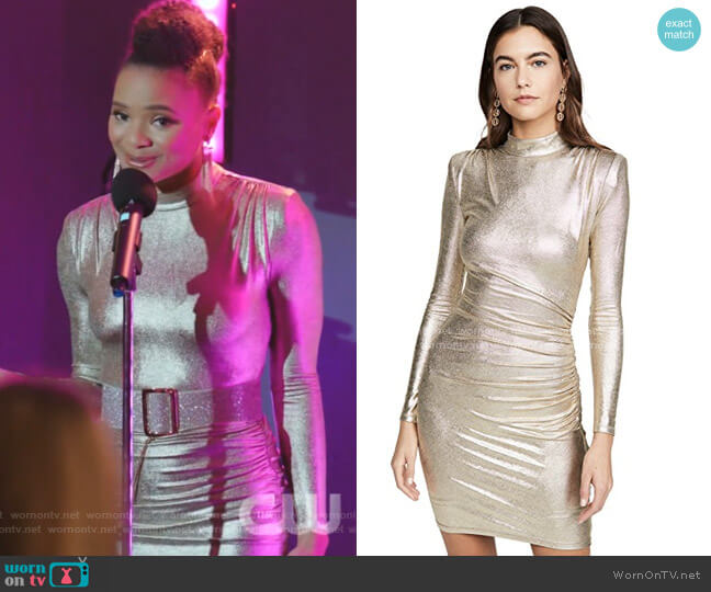 Hilary Ruched Mock Neck Dress by Alice + Olivia worn by Vanessa (Jade Payton) on Dynasty