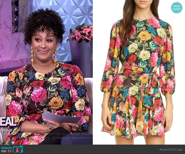 Mina Floral Belted Minidress by Alice + Olivia worn by Tamera Mowry  on The Real
