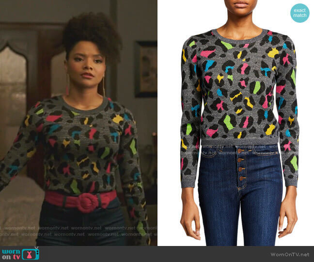 Rhodes Crewneck Long-Sleeve Top by Alice + Olivia worn by Vanessa (Jade Payton) on Dynasty