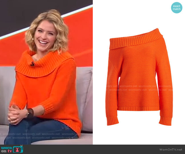 Bonnie Off-Shoulder Pullover by Alice + Olivia worn by Sara Haines  on Good Morning America