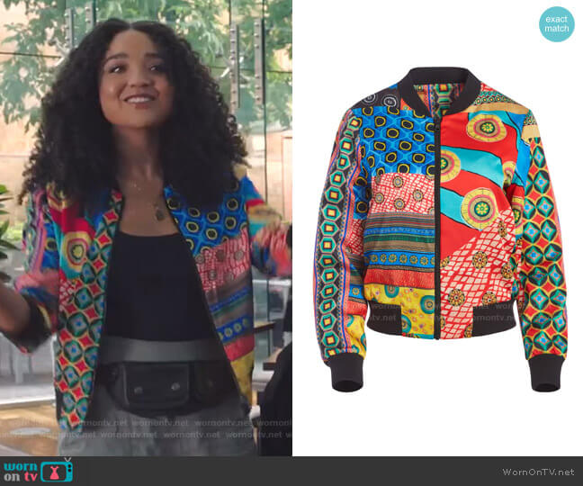 Lonnie Bomber Jacket by Alice + Olivia worn by Kat Edison (Aisha Dee) on The Bold Type