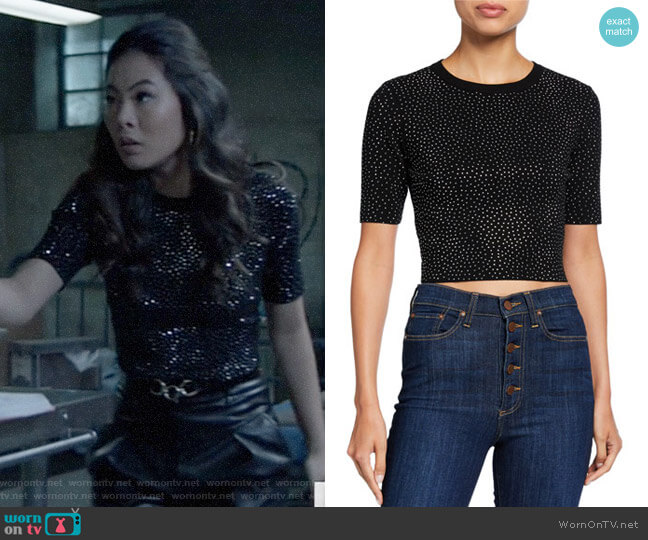 Alice + Olivia Ciara Heat-Set Crystal Sweater worn by Mary Hamilton (Nicole Kang) on Batwoman