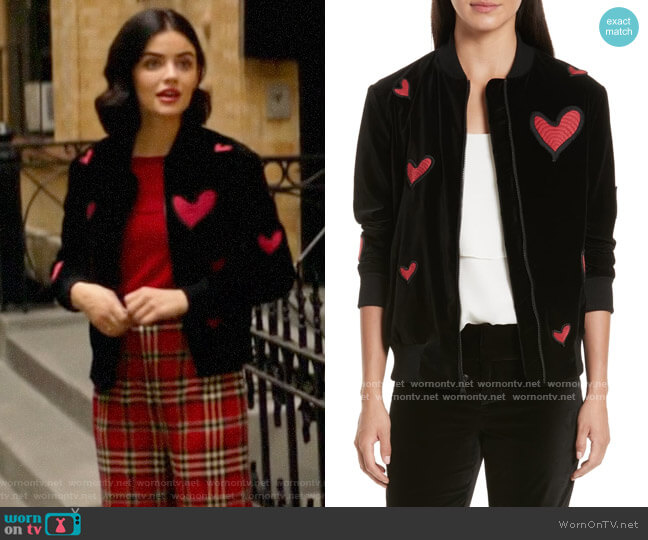 Alice + Olivia Embroidered Patch Oversize Bomber Jacket worn by Katy Keene (Lucy Hale) on Katy Keene