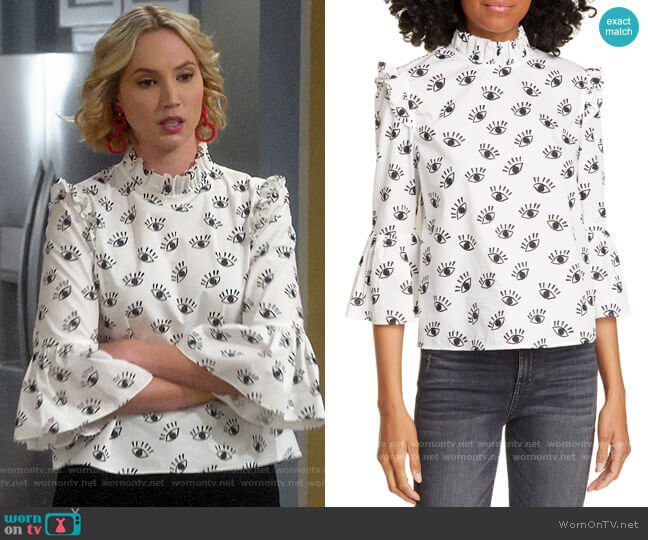 Alice + Olivia Henrietta Top worn by Mandy Baxter (Molly McCook) on Last Man Standing