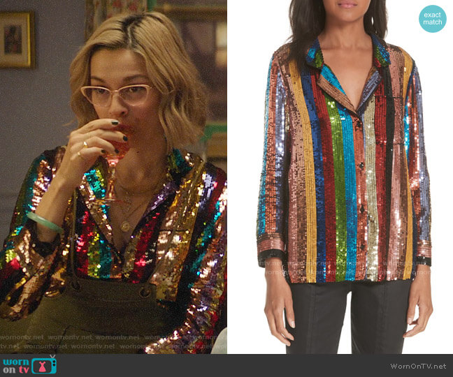 Alice + Olivia Keir Sequin Stripe Blouse worn by Pepper Smith (Julia Chan) on Katy Keene