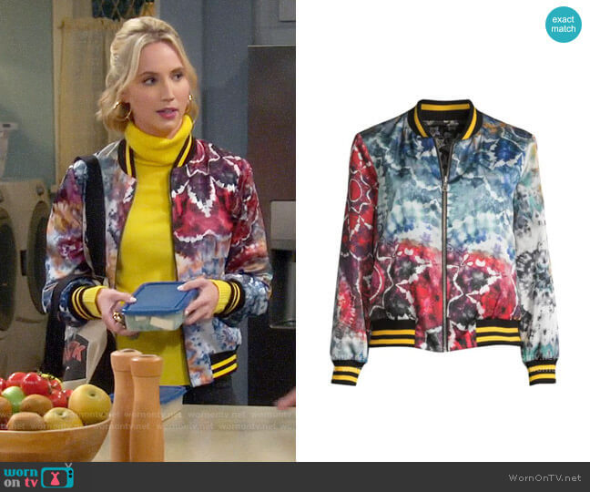 Alice + Olivia Lonnie Bomber Jacket worn by Mandy Baxter (Molly McCook) on Last Man Standing