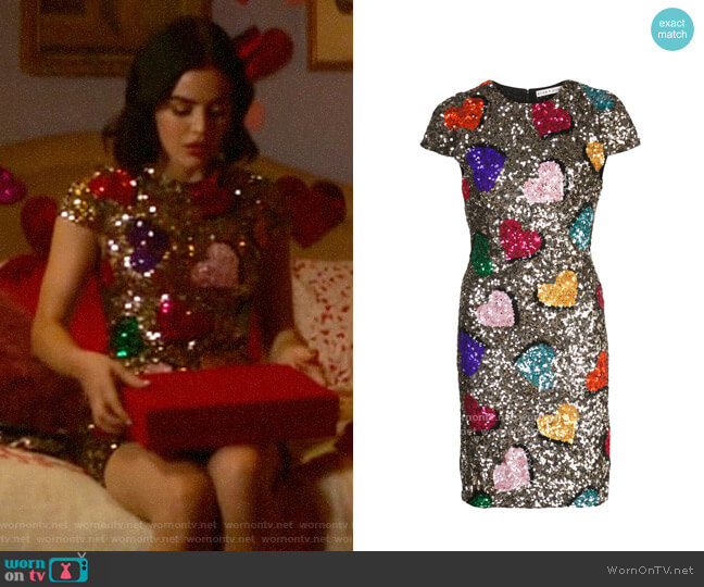 Alice + Olivia Nat Sequin Heart Dress worn by Katy Keene (Lucy Hale) on Katy Keene