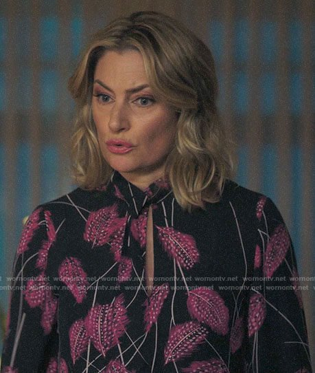 Alice's pink feather print blouse on Riverdale