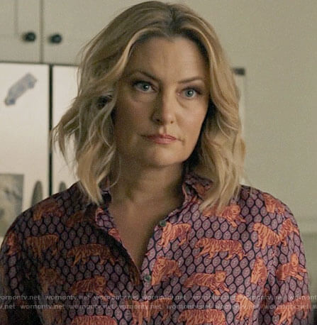 Alice's tiger print button down top on Riverdale
