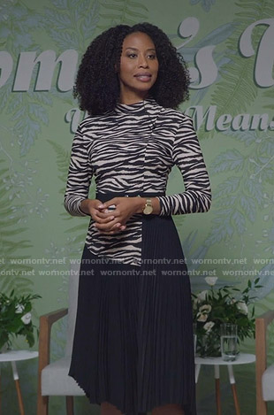 Dr. Alicia Golden's zebra print pleated dress on The Bold Type