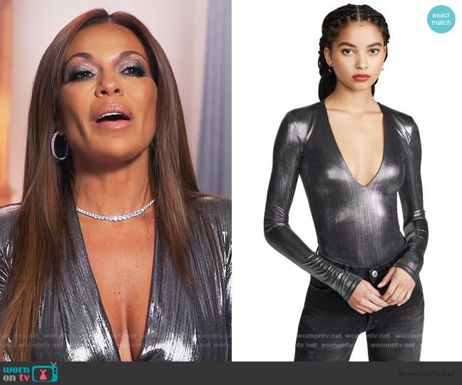 Irving Lame Bodysuit by Alix worn by Dolores Catania  on The Real Housewives of New Jersey