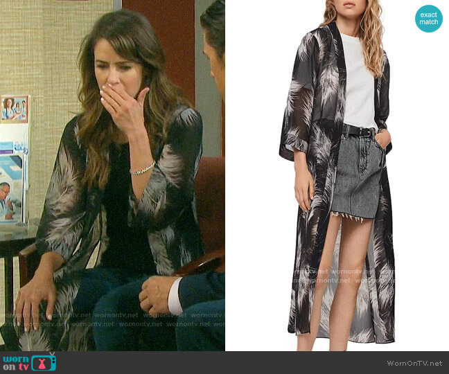 All Saints Carine Feather Print Kimono Robe by All Saints worn by Sarah Horton (Linsey Godfrey) on Days of our Lives