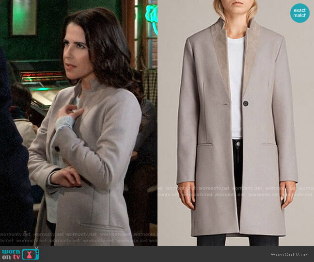 All  Saints Leni Coat worn by Sam McCall (Kelly Monaco) on General Hospital