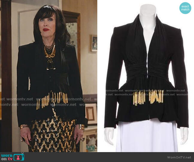 Fringe-Accented Evening Jacket by Altuzarra worn by Moira Rose (Catherine O'Hara) on Schitts Creek